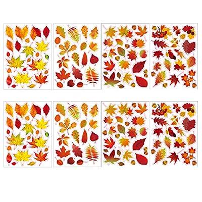 Coavas 174 PCS Window Sticker Maple Leaf Stickers Window Clings Autumn Stickers Thanksgiving Windows Refrigerator Decorations(8 Packs)