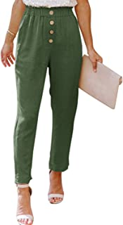 NIMIN Women's Casual Loose Elastic High Waist Pants with Pockets Solid Chic Pants Summer Beach Pants