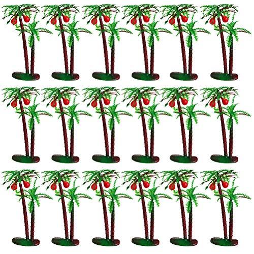 VALICLUD Stylish 1 Set 24pcs Imitation Coconut Tree Adornments Aquarium Landscape Decorations