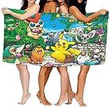 QWAS Toalla de playa Pokémon de microfibra, par de toallas de baño, diferentes tamaños, aspecto perfecto, adecuada para sauna, yoga (Pokémon2,100 x 200 cm)