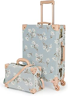 """COTRUNKAGE Travel Carry On Luggage Trunk Set Vintage Suitcase for Women with TSA Lock (12"""" & 20"""", LightCyan Floral)"""