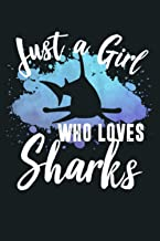 Womens JUST A GIRL WHO LOVES SHARKS Hammerhead Women Mom Kid Retro Tank Top: Notebook Planner - 6x9 inch Daily Planner Jou...