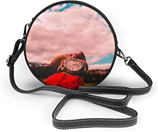 Bafrsc Person In Red Shirt Wearing Watch Women's Hand Round Crossbody Ms. Shoulder Messenger Bag Personalized Tote