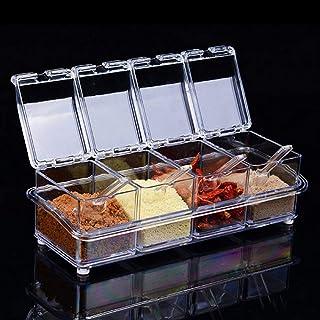 Czemo 4 Pièces Assaisonnement Box Set Transparentes Sel Spice Jar,Pots à épices Cuisine Condiment Jarres de Stockage de Co...