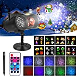 Christmas Projector Lights Outdoor Snowflake Projector Lights, 2-in-1 Moving Patterns with Ocean Wave LED Projector Light Waterproof Outdoor Indoor Decor Holiday Projection Light for Xmas Yard Party