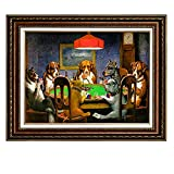 Eliteart-Dogs Playing Poker by Cassius Marcellus Coolidge Oil Painting Reproduction Giclee Wall Art Canvas Prints-Framed Size:28 'x 35 '