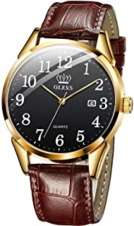 Men Women Wrist Watch Brown Leather-OLEVS Casual Classic Number Easy Reader Analog Quartz Dress Waterproof 3ATM Wristwatch