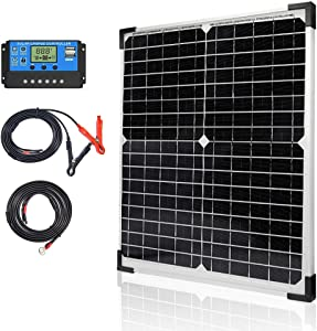 Apowery Solar Panel Kit 20W 12V Monocrystalline,Battery Maintainer +10A Solar Charge Controller + Extension Cable with Battery Clips O-Ring Terminal for RV Marine Boat Off Grid System