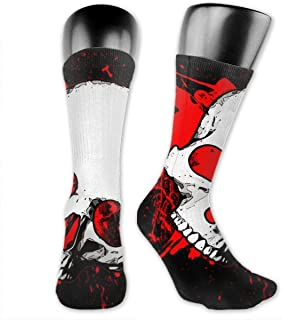 Lsjuee Blood Skull Image Unisex Classic Print Casual Athletic Socks Crew Sock Running Socks for Man and Women