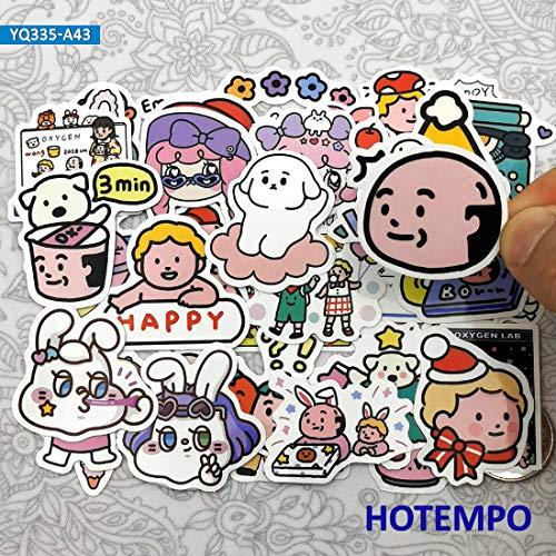 PMSMT 43pcs Cute Oxygen Lab Mini Anime Tagebuch Aufkleber Spielzeug für Kinder Briefpapier Sammelalbum Handy Laptop Spaß Cartoon Aufkleber Aufkleber