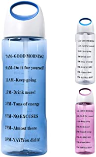 64 OZ Water Bottle with Straw Half Gallon Water Bottle with Time Marker 2 Liter Big Motivational Markings Large 2l Water B...