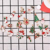 19PCS Christmas Pendants Drop Neclace Ornaments Xmas Tree Santa Claus Deer Decorations Claw Clasp DIY Making Decor for Home