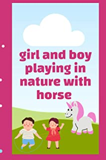 girl and boy playing in nature with horse: horse