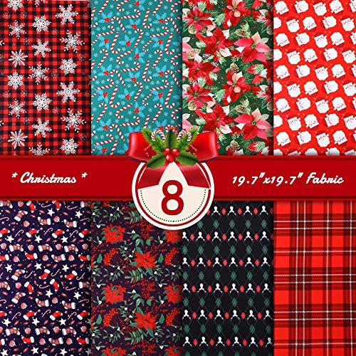 8 Pieces Christmas Print Fabric Christmas Fat Quarters Sewing Fabric Bundles 19.7 x 19.7 Inches Christmas Red and Green Fabric Assorted Christmas Theme Fabric for DIY Sewing Patchwork Craft