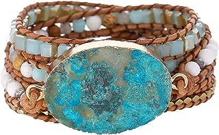 Boho Leather Natural Druzy 5 Warps Bracelet Handmade Gemstone Beaded Bracelet Jewelry Collection