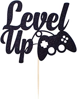 YUINYO Level up Video Game cake Toppers Happy Birthday Party Favors Supplies Video Game Cake Topper Game Themed for Birthd...