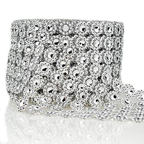Bling Rhinestone Diamond Flower Shape Mesh Ribbon Wrap,Storystore Silver Acrylic Bling Diamond Wrap Ribbon for Wedding, Cake, Vase Decorations, Party Supplies(1 Roll, 30Ft,6 Rows)(Silver Flower Shape)
