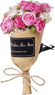 Mini-Factory Car Interior Decoration, Car Air Vent Clip Flower Wrap - Pink & White Roses