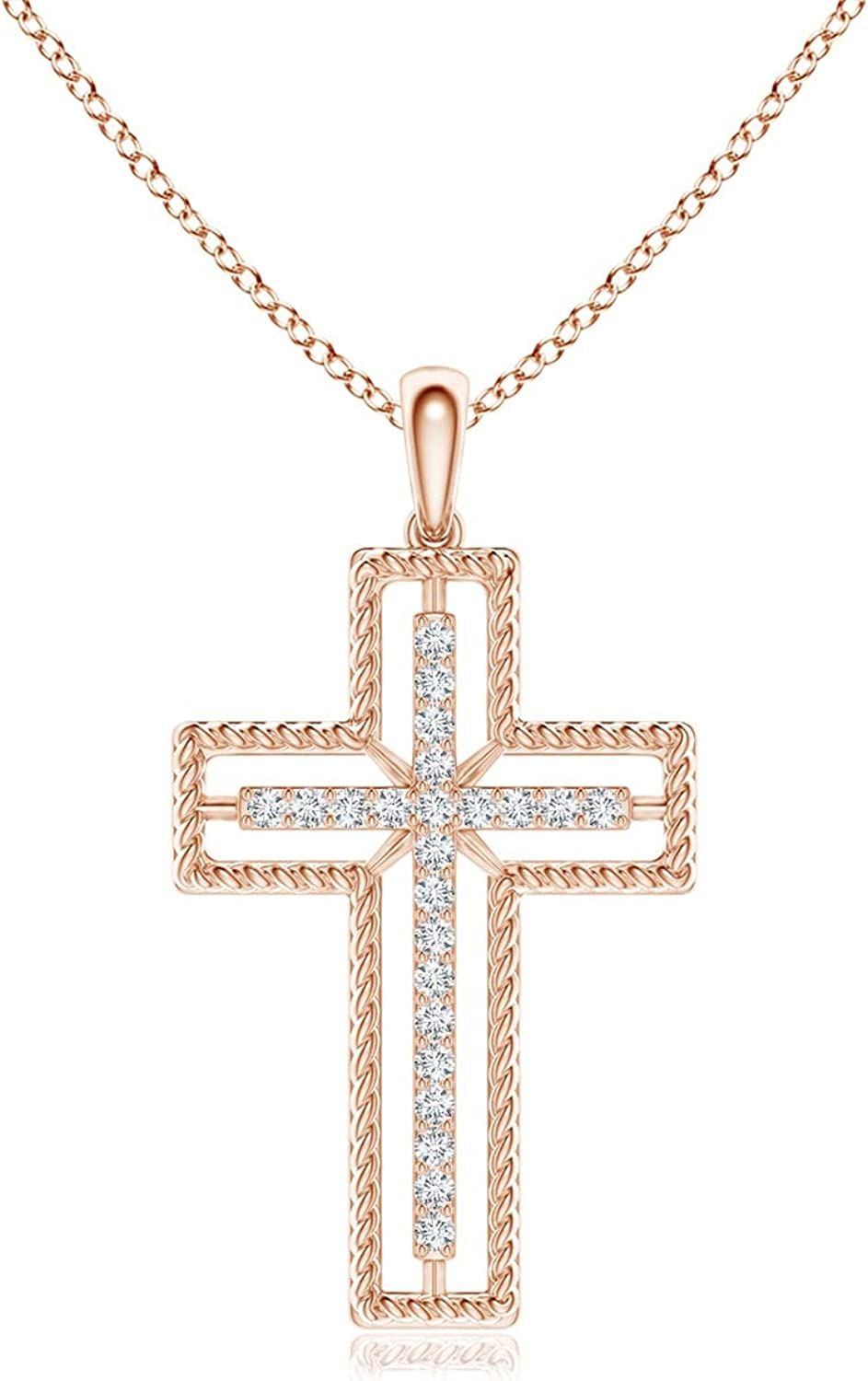 Super beauty product restock quality top! It is very popular Diamond Rope-Edged Open Cross Pendant 0.9mm
