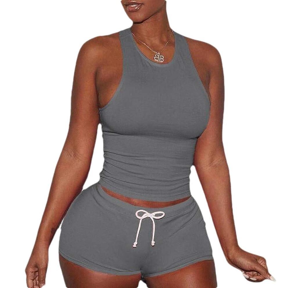 証明書外向き心配する女性ショーツセットノースリーブスプリットカジュアル衣装スポーツピース2個セット