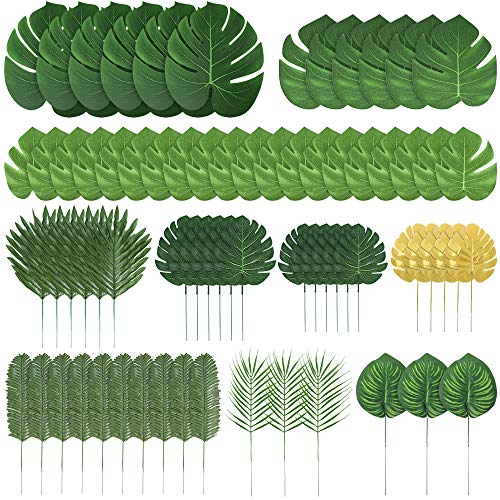 Auihiay 70 piezas 10 tipos de hojas de palmera artificiales decoraciones de hojas tropicales para decoraciones de fiesta en la jungla