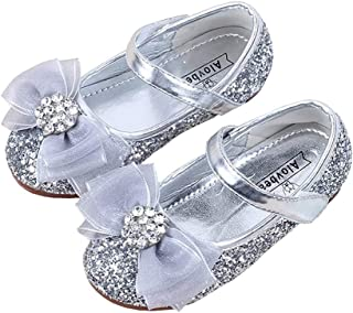 057daca60e82 XinYiQu Girls Bowknot Rhinestone Little Girls Dress Shoes Bling Sequin Flats