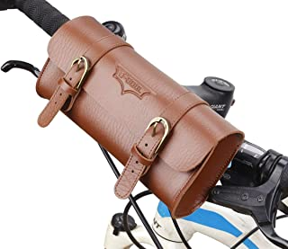 AUKMONT Vintage Classic Style Comfort Leather Bicycle Bike Back Front Bag Brown
