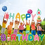 16Pcs Birthday Party Yard Signs with Stakes -15' Large Size Birthday Yard Lawn Decor with 3 Real Balloons and a Whiteboard, All Weather Birthday Lawn Sign for Yard