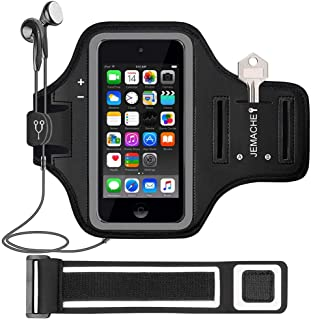 iPod Touch 7th/6th/5th Generation Armband, JEMACHE Gym Running Exercises Workouts Sport Arm Band Case for iPod Touch 7/6/5/4 Generation with Card/Key Holder (Black)