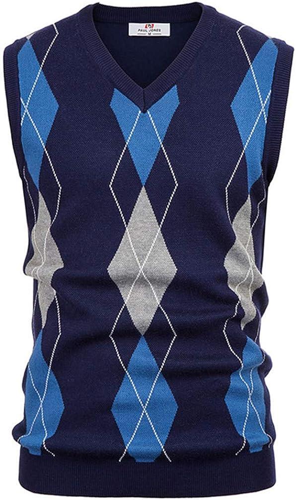 Men Sweater Spring Fall Warm Sleeveless Sweater Knitted Vest Men Tops Knitwear Navy Blue L