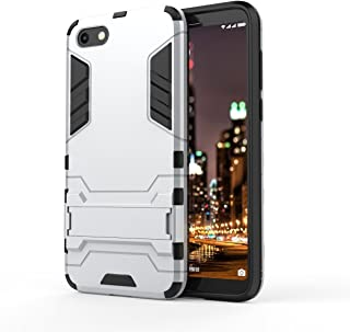Huawei Y5 Prime 2018 Case, Huawei Y5 2018 Case, Hybrid Armor Case [2 in 1] Lightweight Hard PC Cover Flexible TPU Shock Absorption with Kickstand for Huawei Y5 2018/Y5 Prime 2018 - Sliver