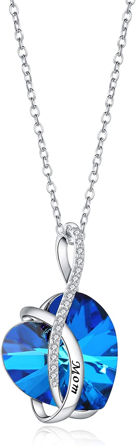 Aroncent Mom Heart Necklace Made Blue Same day Very popular shipping Swarovski with - Crystals