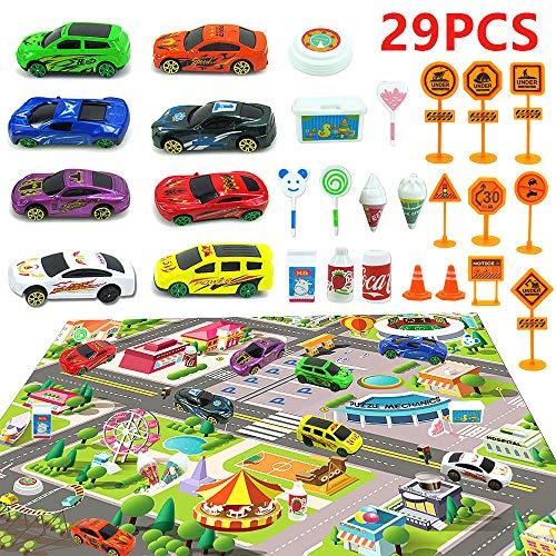 Diealles Shine Spielfahrzeuge mit Spielteppich Straße, Legierung Auto Spielzeug für Kinder, 8 Stück Spielzeugautos Set