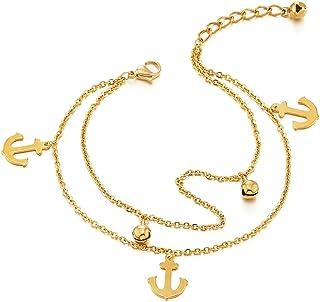 COOLSTEELANDBEYOND Due Ranghi Acciaio Inossidabile Color Oro Cavigliera da Donna con Ancora Charms e Campana