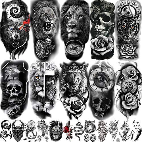 COKTAK 22 Blatt 3D Groß Temporäre Tattoos Männer Frauen Erwachsene, Tribal Löwe Krieger Tiger Wolf Blumen Schädel Fake Tattoo Aufkleber Halloween, Schwarz 3D Realistisch Tatoo Rose Tiere Herren Damen