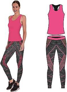 – Conjunto de ropa de yoga o entrenamiento para mujer, parte superior y mallas ajustadas, elástico Stretch-Fit