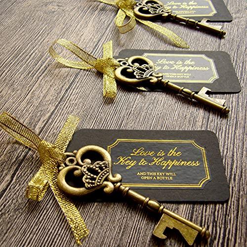52 Heavy-Duty Metal Large Skeleton Key Bottle Opener Wedding Favor with Tag (Chalkboard Look-alike), FREE Gold Ribbon and Stickers, Vintage Bridal Shower Favors Bottle Opener for Guests (Antique Gold)