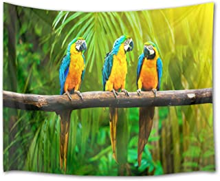 HVEST Parrots Tapestry Rainforest Wall Hanging Tropical Birds with Green Palm Leaves in Jungle Wall Tapestries for Bedroom Living Room Dorm Party Decor,80Wx60H inches