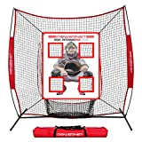 PowerNet German Marquez Pitching Pad   4 Pocket Baseball Softball Training Tool   Hang in Cages or Practice Net   All Ages   Realistic Catcher (Pad w/ 7x7 Net)