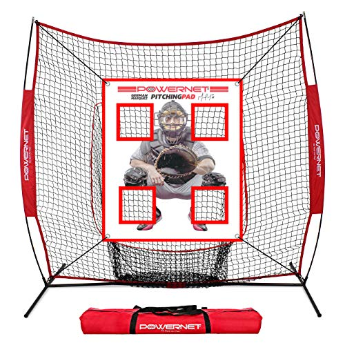 PowerNet German Marquez Pitching Pad | 4 Pocket Baseball Softball Training Tool | Hang in Cages or Practice Net | All Ages | Realistic Catcher (Pad w/ 7x7 Net)