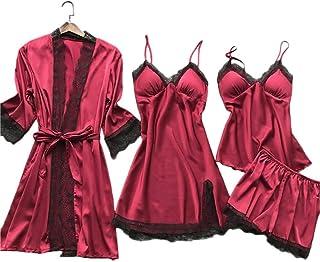 ملابس داخلية لانجري من الدانتيل بيجامات للنساء مصنوعة من الساتان