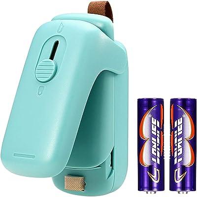 Mini sellador de bolsas, sellador y cortador 2 en 1, máquina de sellado térmico portátil, revellador para ahorro de alimentos para bolsas de plástico, almacenamiento de aperitivos galletas frescas, (batería incluida)