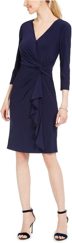 Jessica Howard Womens Faux Wrap 3/4 Sleeve Wear to Work Dress
