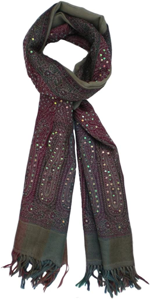 Beautiful Max 65% OFF Pure Wool Fresno Mall Jamawar with Wrap Jacquard Sequin