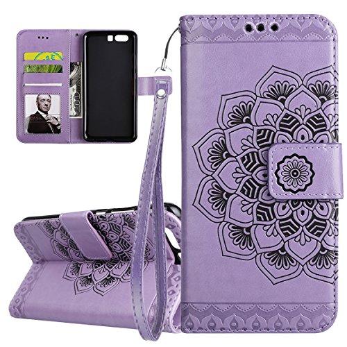 ISAKEN Compatibile con Huawei P10 Custodia Cover, Libro PU Pelle Wallet Cover Flip Portafoglio Protezione Custodia con Supporto di Stand/Carte Slot/Strap[Shock-Absorption], Fiori: Viola