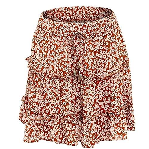 Kvinnors kjolar sommarblommigtryck bältade en linje fläckad elastisk midja volang veckad mini kort kjol (Color : I, Size : M)