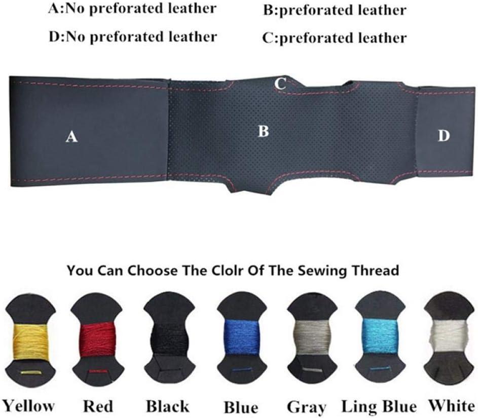 YXNVK Cubierta del Volante del Coche de Cuero Negro Cosida a Mano, para Skoda Octavia Superb 2012 Fabia Skoda Octavia a5 2012 Red Blue Thread