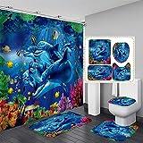 NICEME Duschvorhang 4-teiliges Badezimmer Anti-Rutsch-Matte Set Handgriffige Delphin-Fisch-Badematte Coral Duschvorhang Bodenmatte Waschbar Badezimmer WC Teppich (Color : F, Size : 35.4 * 70.8inch)
