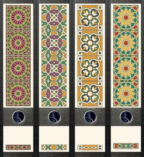 Ordnerrücken breit 4er Set Ordner Blumen Arabeque Aufkleber Etiketten Deko 076