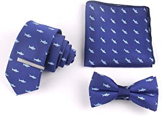 Mens Tie Set,Lattice Necktie + Bowtie + Pocket Square + Tie Clip + Gift Box